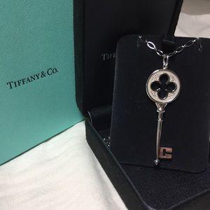 Tiffany Key w/ Diamond + 18K White Gold necklace